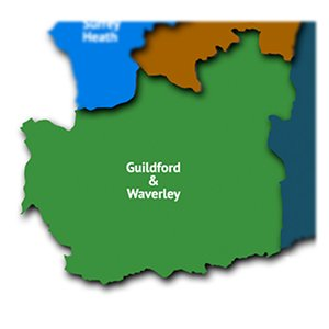 Guildford and Waverley map
